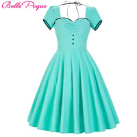 Womens Dresses 2017 Retro Vintage Short Sleeve Sweetheart Plus Size New Arrival Turquoise Party Picnic Dress