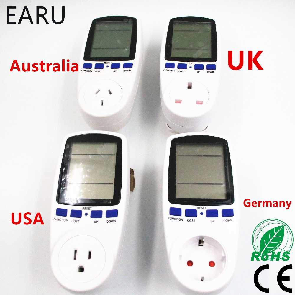 US USA UK EU Australia AU Germany Standard Smart Home Plug Socket Power Meter Energy Voltage Amps Electricity Usage Watt Monitor ...