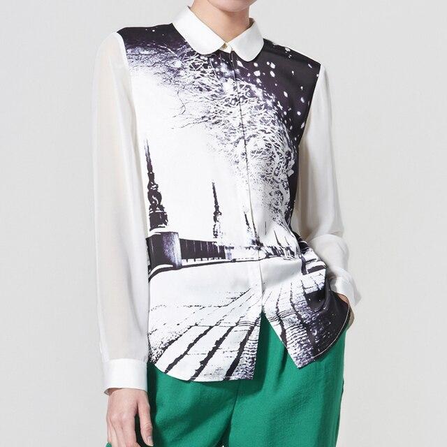 Ving 2017 Women Turn-down Collar Blouse Print Chiffon Shirt Casual Loose Female Shirt