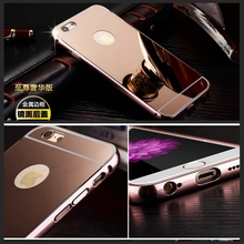 For IPhone 7 Case Luxury Metal Aluminum Bumper + Mirror Hybrid Hard Cover For Apple iPhone 7 Case Fundas Protective Bag Shell(China (Mainland))