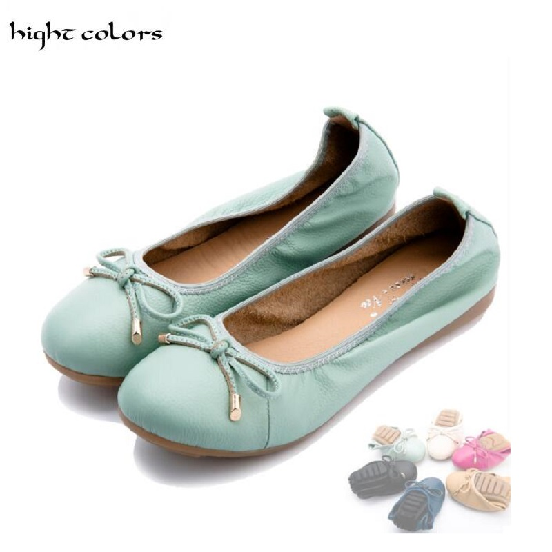 ( hight colors ) Brand 2017 Spring Women Ballet Flats 6 Colors Woman Flat Loafers Womens Casual Genuine Leather Shoes