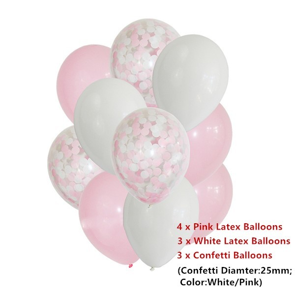 12inch 10pcs/5pcs Pink Blue Confetti Balloons Helium Baby Shower Girl or Boy Birthday Balloon Party Wedding Decoration Baloes
