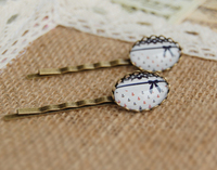 Blue Red Anchors Bowknot Print Glass Cabochon Hairpins for Girls Navy Preppy Vintage Bronzed Sea Hair Jewelry Handmade fq012