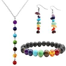 7 Chakra Healing Balance Bracelets Necklace Earrings Jewelry Sets with Box Femme Lava Yoga Reiki Prayer Wish Stone XMAS Pulseras