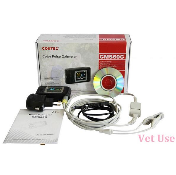 CONTEC Veterinary Pulse Oximeter Pulse Rate, SPO2 Portable Handheld CMS60C Monitor With Software ems free shipping ce approve pm60a portable pulse oximeter and heart rate monitor for veterinary