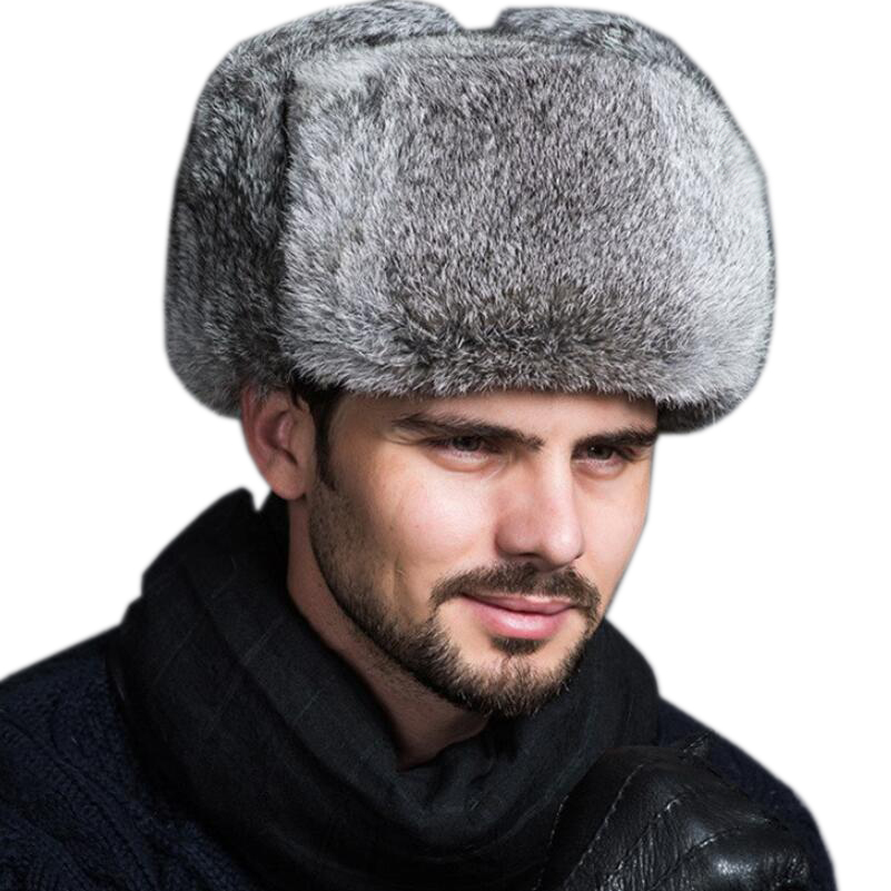 2bf223a0 High Quality Mens 100% Real Rabbit Fur Winter Hats Lei Feng hat With Ear  Flaps Warm Snow Caps Russian Hat Bomber Cap