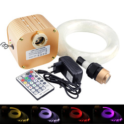 16 w RGBW Twinkle LED fibra óptica estrella cielo techo luces Kit (0,75 + 1,0 + 1,5mm) 335 hilos de fibra óptica 28key RF remote + cristal
