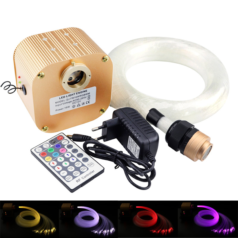 16W RGBW Twinkle LED Fiber Optic Star sky Ceiling Kit lights (0.75+1.0+1.5mm) 335 strands optical fiber 28key RF remote+Crystal цена и фото