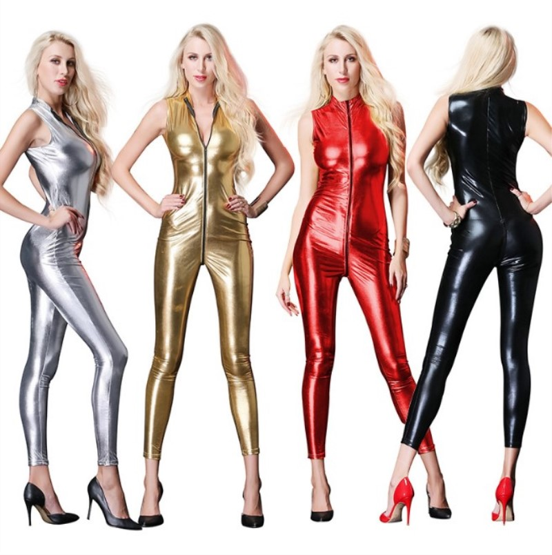 2018 New Sexy Sleeveless Long Catsuit Bodysuit latex lingerie babydoll Erotic underwear Faux Leather Zipper Women Jumpsuit