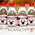 24 unids Minnie mouse etiqueta de la botella de agua barra de caramelo decoración niños suministros fiesta de cumpleaños baby shower party favor AW-0605