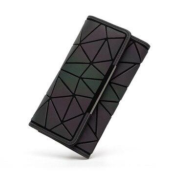 Women Wallets Purse Geometry Luminous Ladies Clutch Phone Bag Female Zipper Wallet Card Holder