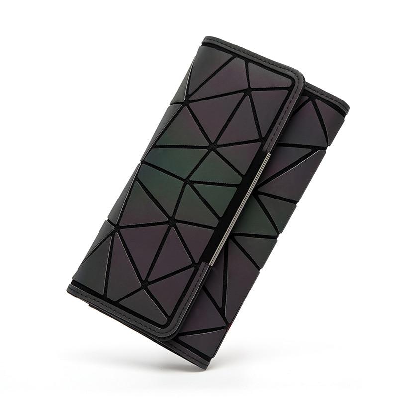 2018 Noctilucent נשים ארנקים ארנק גיאומטריה זוהר גבירותיי מצמד טלפון תיק נשי ZipperWallet כרטיס מחזיק Carteira Feminina