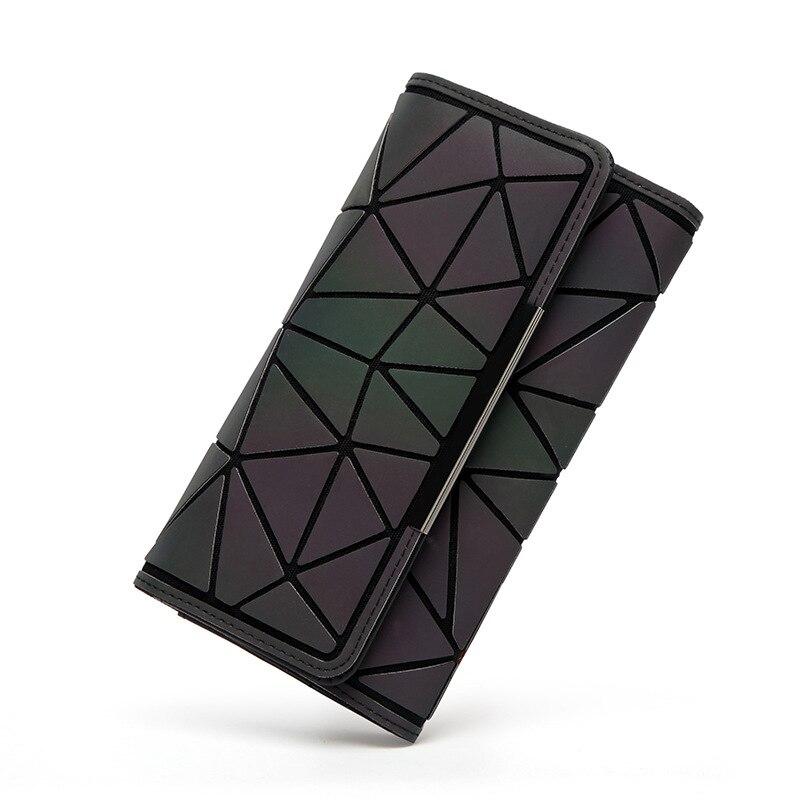 2018 Noctilucent Women Wallets Purse Geometry Luminous Ladies Clutch Phone Bag Female ZipperWallet Card Holder Carteira Feminina