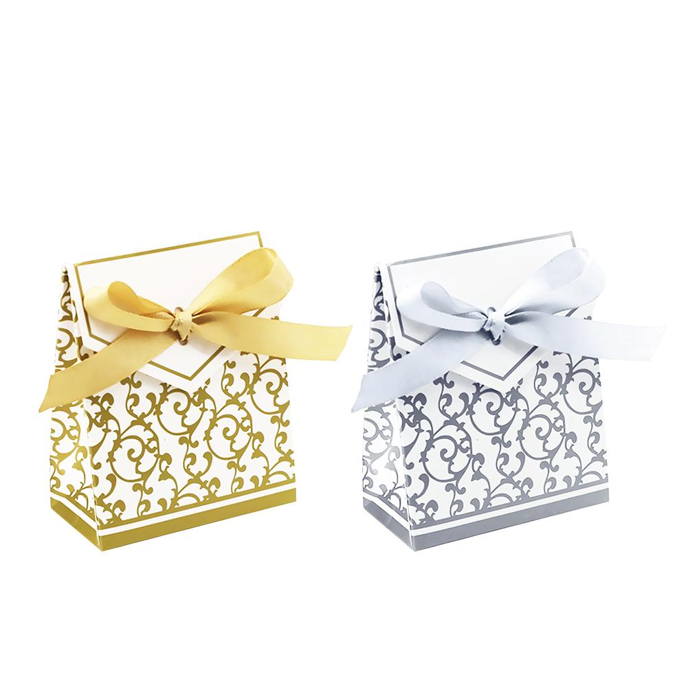 50 PCS/Set Creative Golden Silver Ribbon Wedding Favours Party Gift Candy Paper Box Cookie Candy Gift Bags Event Party Supplies50 PCS/Set Creative Golden Silver Ribbon Wedding Favours Party Gift Candy Paper Box Cookie Candy Gift Bags Event Party Supplies