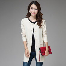 Lady Long Knitted Cardigans High Quality Sweater 2016 Autumn Winter Women Fashion Loose Sweaters Outwear Coat Blusas pull femme