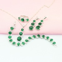 Ashely Green Emerald Four Jewelry Sets For Women 925 Silver Earring Pendant Necklace Ring Bracelet Free