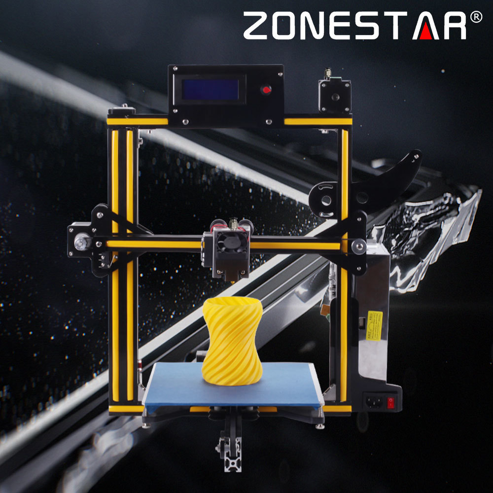 ZONESTAR Newest 1 or 2 color Full Metal Aluminum Frame Optional Auto Leveling Filament Run out Detect 3d printer DIY kit 2017 newest geeetech aluminum 3d printer diy kit support 5 filament 1 75mm 0 3mm 0 35mm
