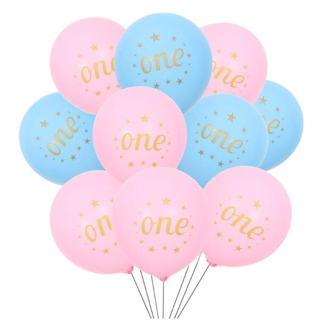 ec21836e5 10pc 10inch Pink Blue one year latex Balloon printed baby foot balloons for Baby  Shower Birthday