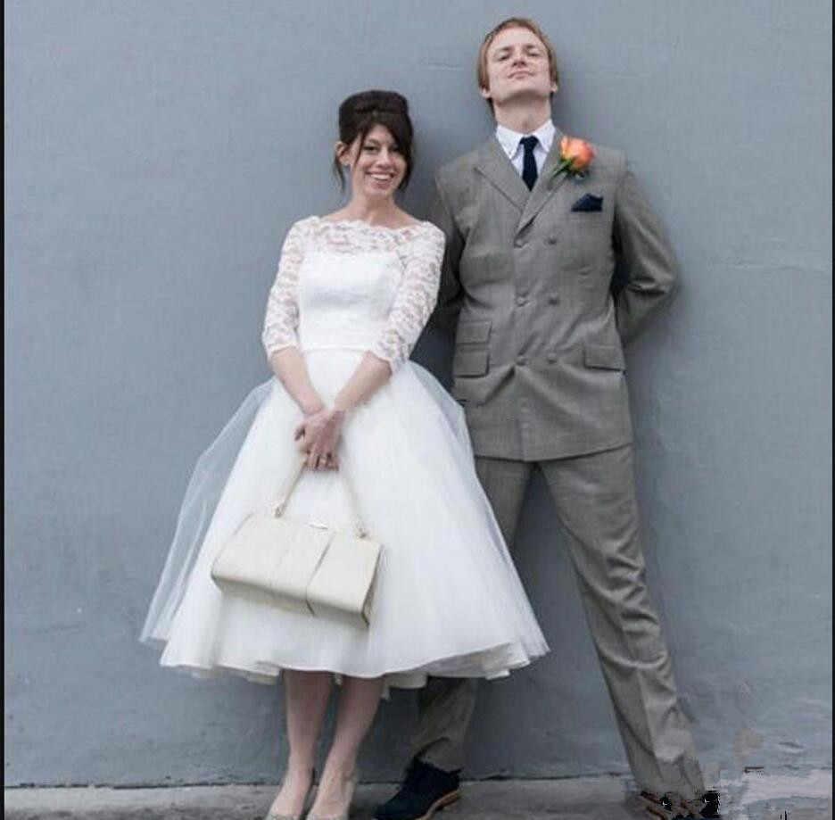 2c69f86fa472 ... 2019 Elegant bateau Neck Simple a-line Short Wedding Dresses 3/4 Sleeve  Petite ...