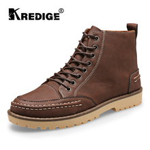 KREDIGE Men Lace-Up Martin Boots Shoes Texture Comfortable Shoes Wear-Resistant Anti-Skid Pure Round Toe Deodorant Leather Shoes