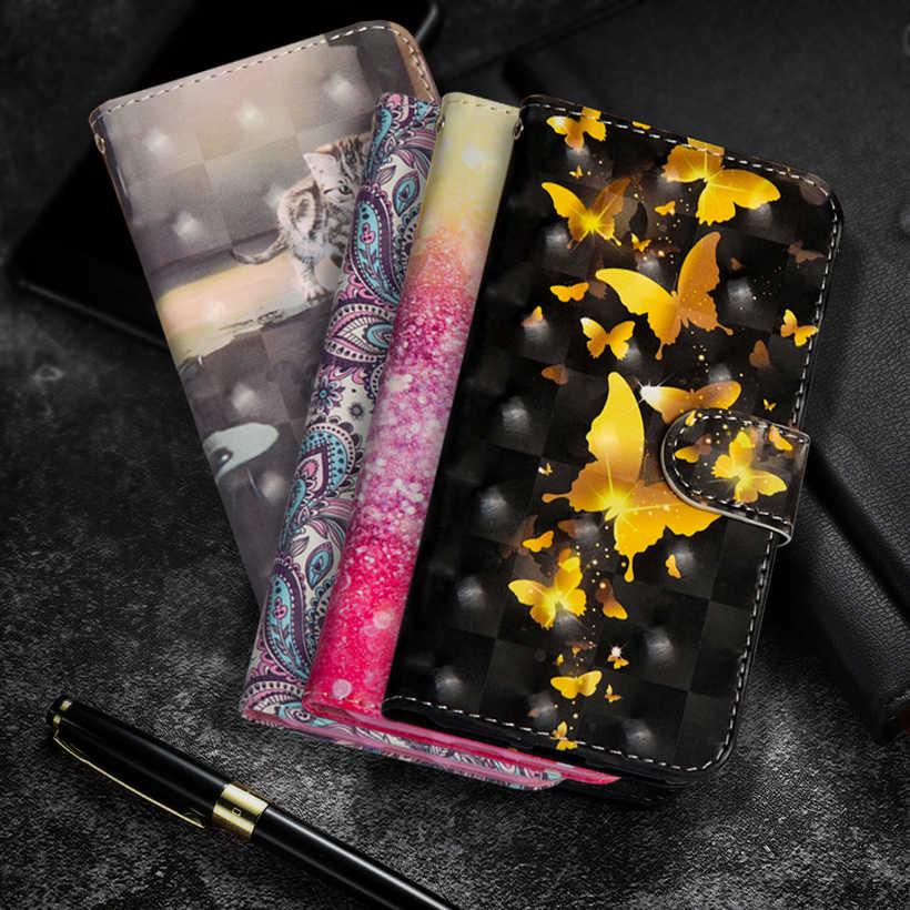 Butterfly Leather Flip Case For Xiaomi CC9 CC9e Wallet Cover Cases For Xiomi A3 Lite Redmi Note 7 Pro 7S 7A 7 Note 8 Pro Coque