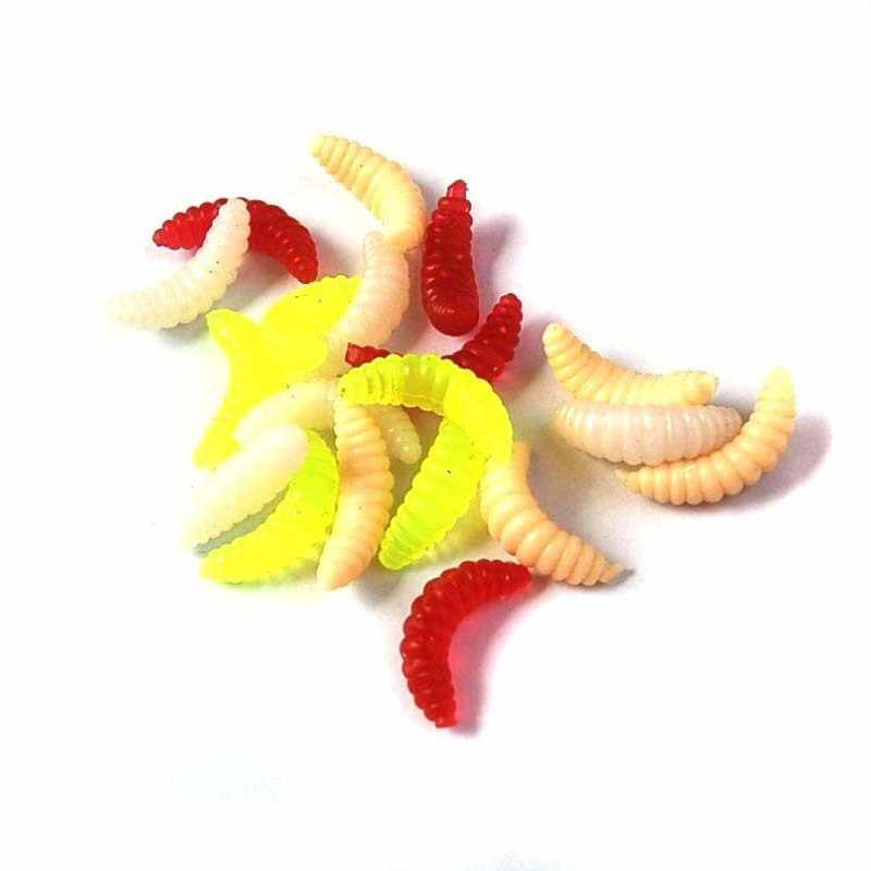 50PCS 2cm 0.3g Maggot Grab Soft Fishing Lure Hooks Smell Worms Glow Shrimps Fish Lures