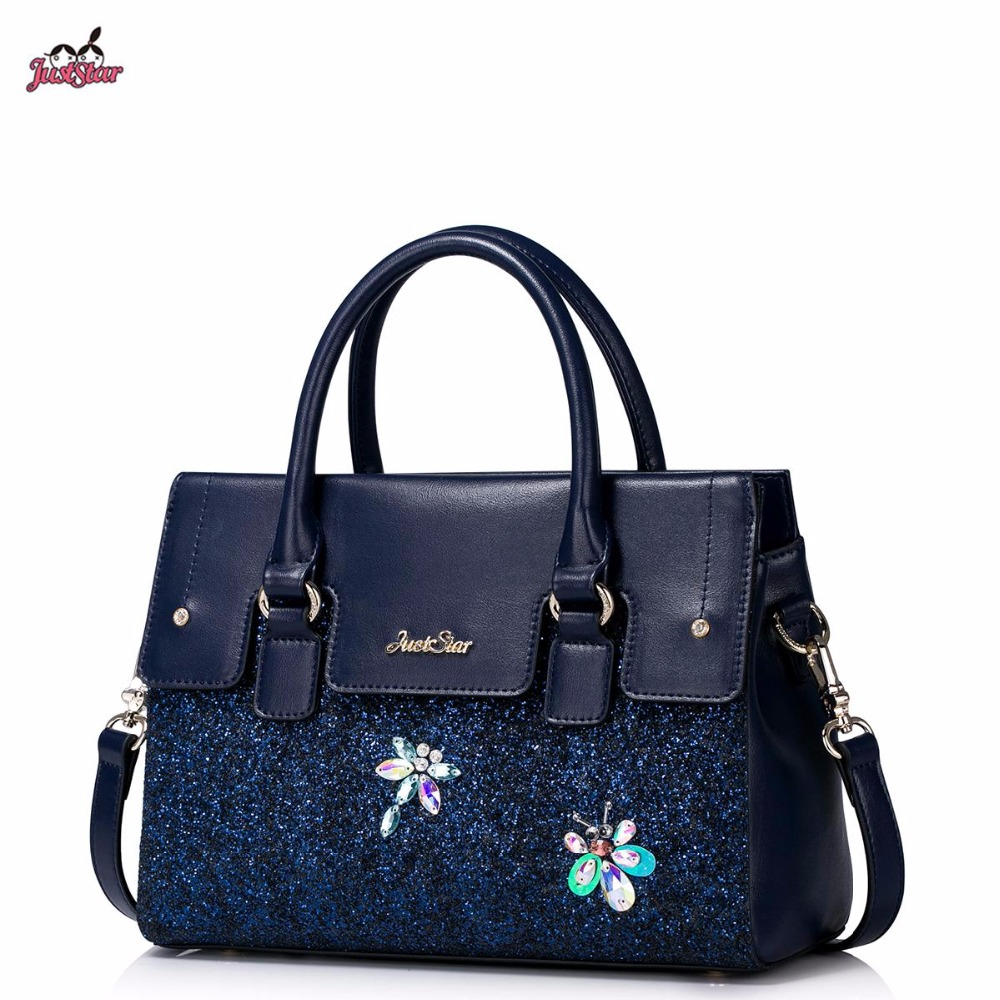 Just Star Brand Design Fashion Stitch Diamonds Colors Insects PU Women Leather Girls Ladies Handbag Shoulder Crossbody Bags