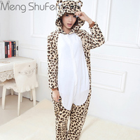 2017 Autumn Winter Cute Leopard Bear Cartoon Animal Unisex Adults For Women Men Flannel Hooded Pajamas