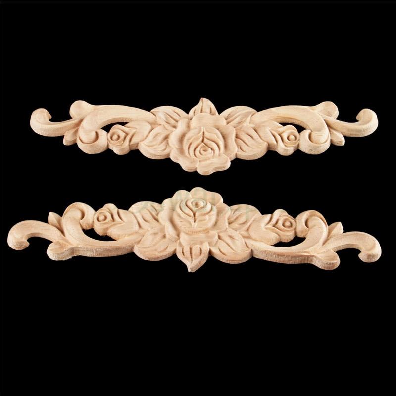 Autocollant de sculpture sur bois 20cm   Rétro, Rose, Angle dappliques, cadre décoratif, décoration de porte murale, meubles 1 pièces 20*5cm