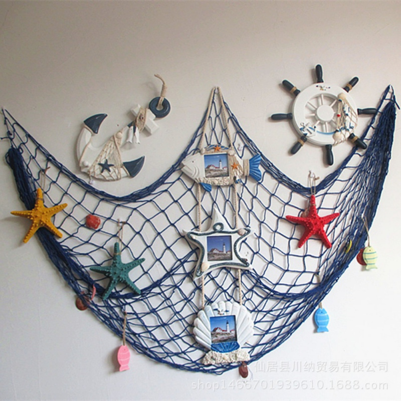 Home decorations fishing net for home decor wall hangings for Fish net decoration ideas