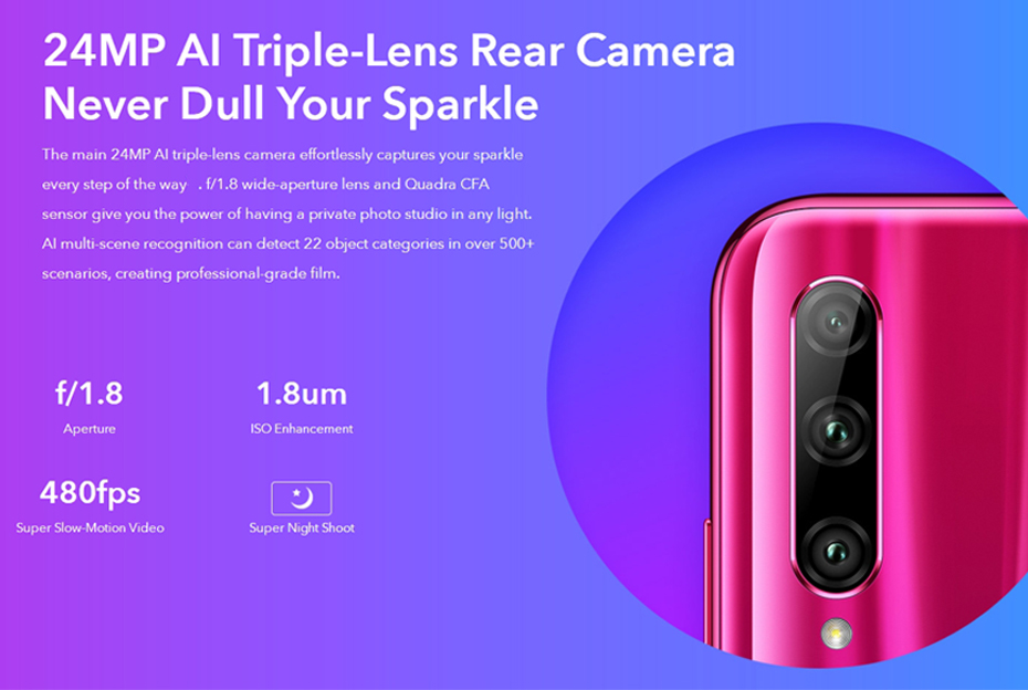 Huawei Honor 20 Lite 4GB 128GB Global Version Front 32MP Kirin 710 Octa Core Android 9.0 Face ID Mobile Phone 24MP Rear Camera