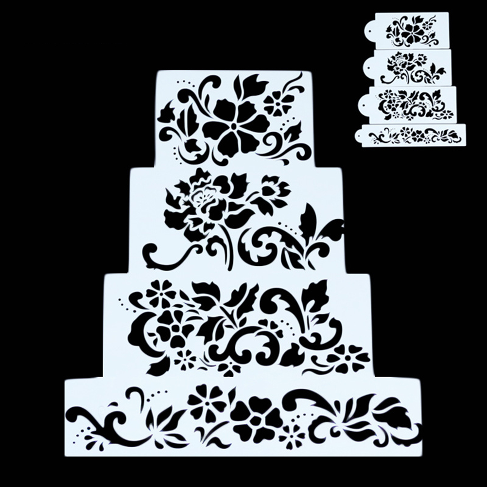 4PCS Ferramentas Bolo Flowers <font><b>Fondant</b></font> <font><b>Decorating</b></font> <font><b>Cake</b></font> Stencil Kitchen Cupcake Decoration Template Mold For <font><b>Cakes</b></font> Baking <font><b>Tools</b></font> image