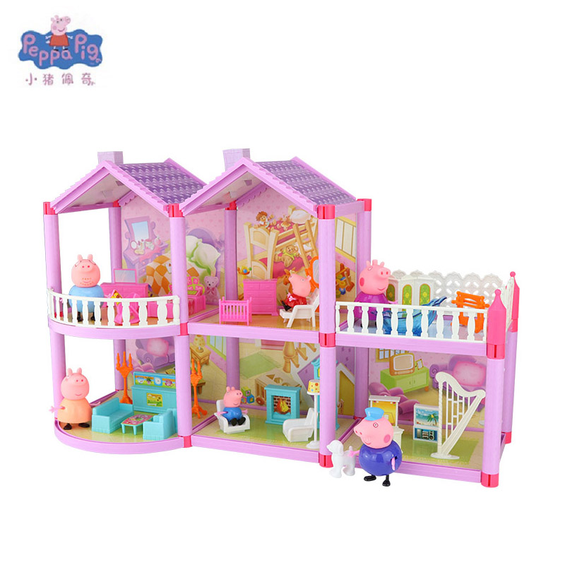 Peppa Pig DIY Toy Doll House Holiday Villa Model Action Figure Dolls Anime Figure Toys For Children Birthday Gifts