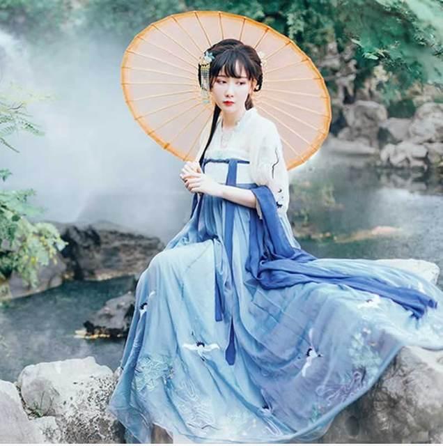 5671518de 2018 new chinese women cotton white cranfairy costume clothing han dynasty  princess ancient royal hanfu female dance dress hanfu