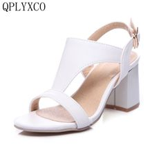QPLYXCO 2017 New fashion Big Size 34-46 Women Gladiator High Heel Sanda