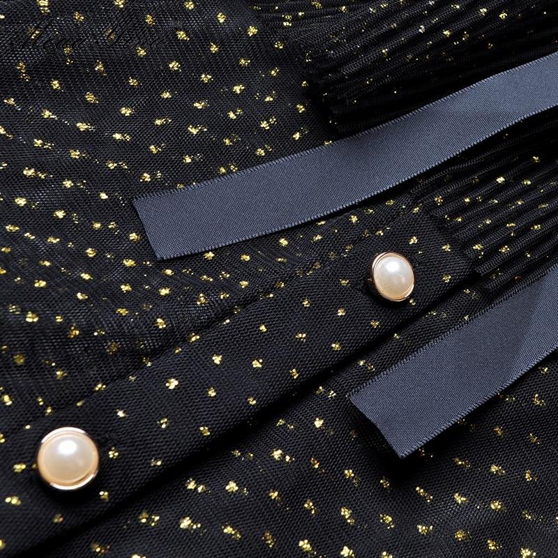 Qian Han Zi Fashion Designer Runway Dress Summer Women Stand collar Short sleeve Bowknot Mesh Lurex Parties Elegant Cake Dress