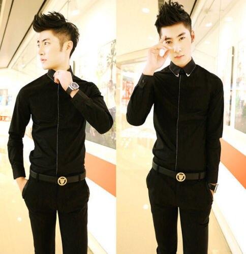 c57dbc04e Unique Gold Chain Design Men's Black Cool Long Sleeve Fashion Dress ...