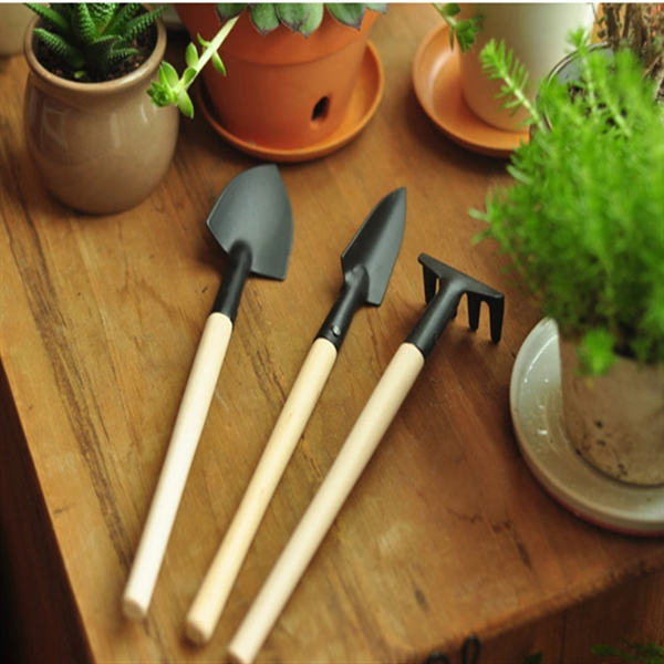 Hot Sale High Quality 3Pcs Mini Garden Hand Tool Kit Plant Gardening Shovel Spade Rake Trowel Wood Handle Metal Head Gardener kraft will seven sets of garden tool set gardening metal toolbox tool set
