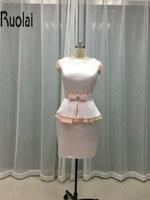 До колена Длина Baby Pink мать Костюмы Новое поступление 2017 года индивидуальный заказ для матери невесты платье для свадьбы элегантные Стиль (MO