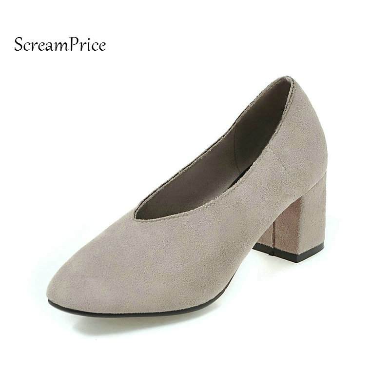 Faux Suede Comfort Thick Heel Woman Lazy Pumps Fashion V Type Dress High Heel Shoes Square Toe Woman Spring Autumn Shoes Black asumer beige pink fashion spring autumn shoes woman square toe casual single shoes square heel women high heels shoes