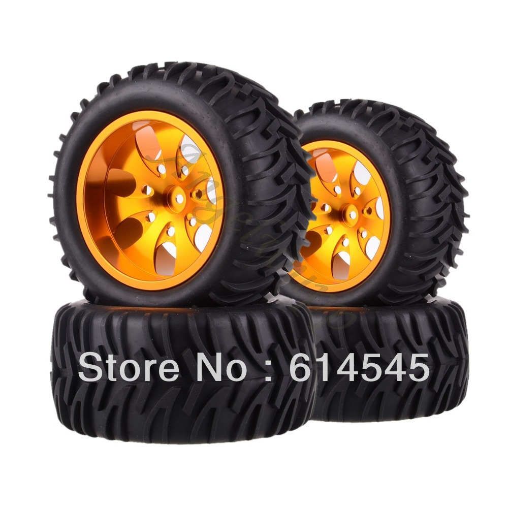 4xRC Monster Truck Bigfoot Metal 1:10 Wheel Rim & Tyre Tires 12MM HEX 88112 4pcs lot 2 2 rubber tires tyre plastic wheel rim 12mm hex for redcat exceed hpi hsp rc 1 10th off road monster truck bigfoot