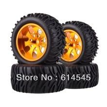 4xRC Monster Truck Bigfoot Metal 1:10 Wheel Rim & Tyre Tires 12MM HEX 88112 88035 4pcs rc 1 10 monster bigfoot car truck wheel rim