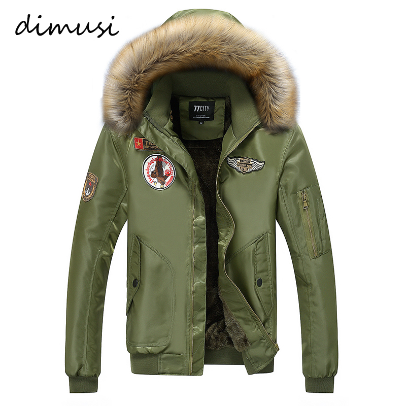 DIMUSI Men Winter Bomber Jacket Hooded Thermal Down Cotton Parkas Male Casual Hoodies Faux Fur Collar Warm Coats 4XL,TA015