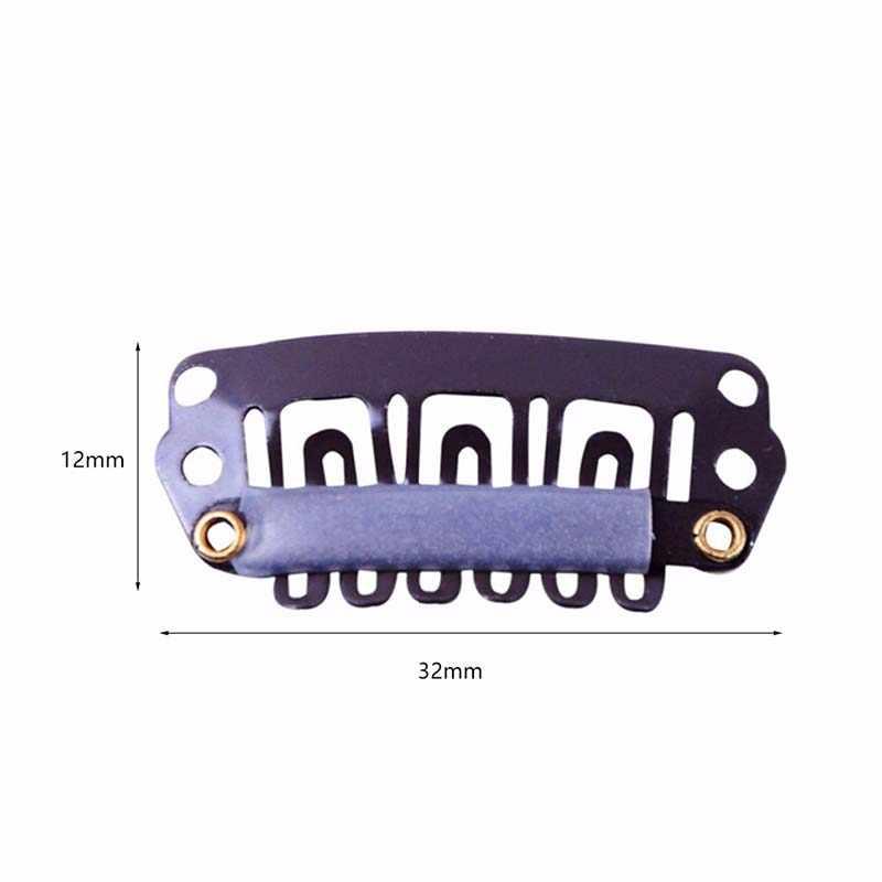 10 unids/set 32mm 6 dientes pinzas de extensión de pelo broche de Metal con silicona trasera para Clip en humano extensiones de Cabello peluca peine Clips