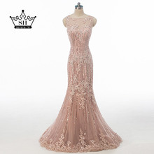 Sexy Sheer Sequins Lace Mermaid Dubai Robe De Soiree Evening Dresses 2017 Illusion Back Long Prom