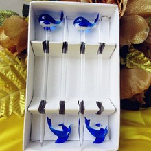 Munuola handmade glass fruit fork cartoon animal dolphin sculpture decorative tableware accessories pastry dessert