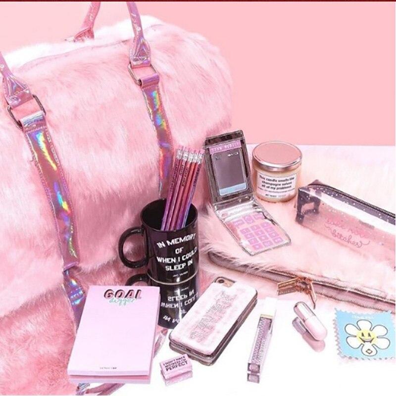 Grand fourre-tout pour femmes 2018 peluche rose Sac de voyage mignon dames sacs à bandoulière grande femme sacs à Main Sac a Main Sac fourre-tout pour femmes - 5