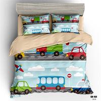 子供寝具セット男の子シングル布団カバー車デジタル印刷ベッドリネンのキルトカバーセットフルセットベッド 寝具セット    -
