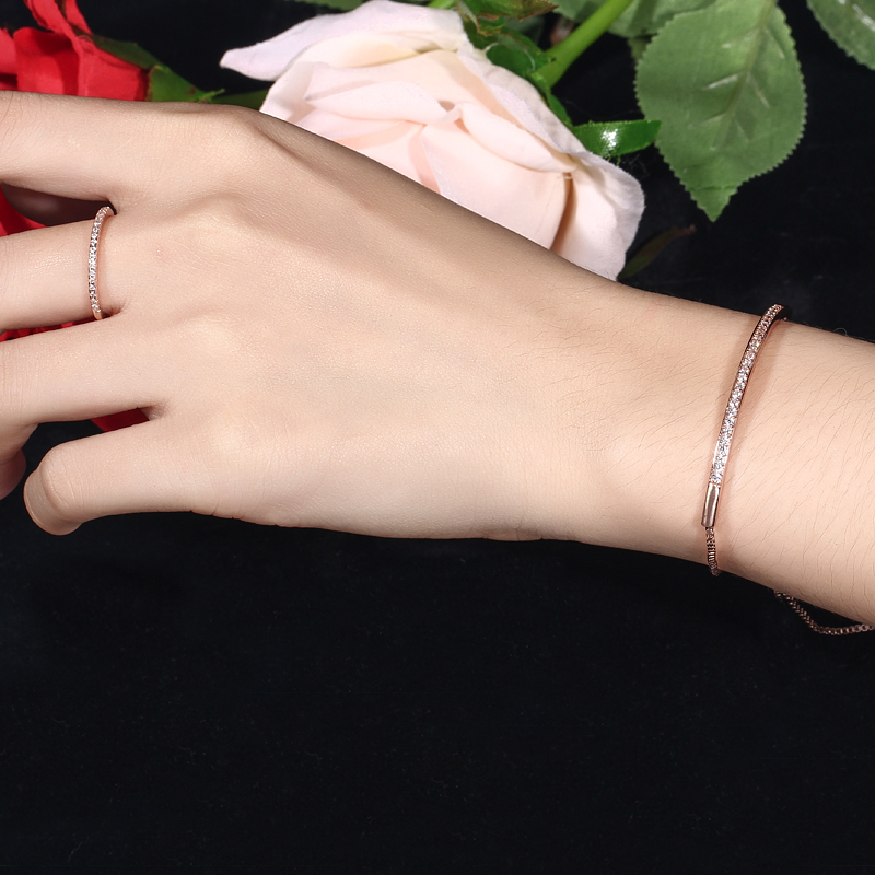 CWWZircons Adjustable Bracelet Bangle for Women Captivate Bar Slider Brilliant CZ Rose Gold Color Jewelry Pulseira Feminia CB089 6