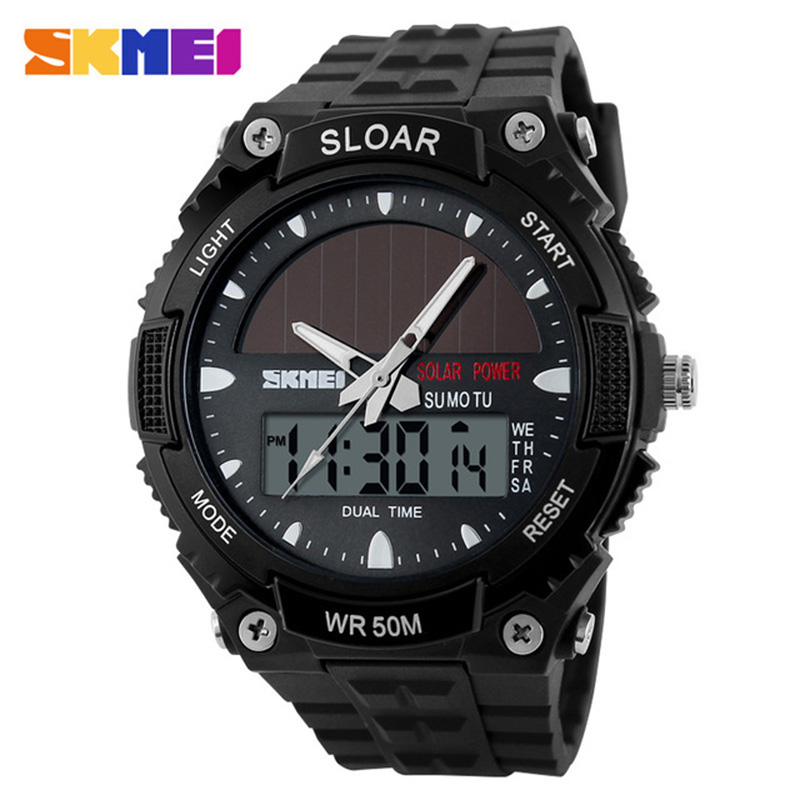 Aggressive Sport Watch Men Clock Male Digital Wrist Watches Solar Power 12/24 Hour Water Resistant Mens Watch Relogio Masculino Skmei 2019 High Resilience Watches